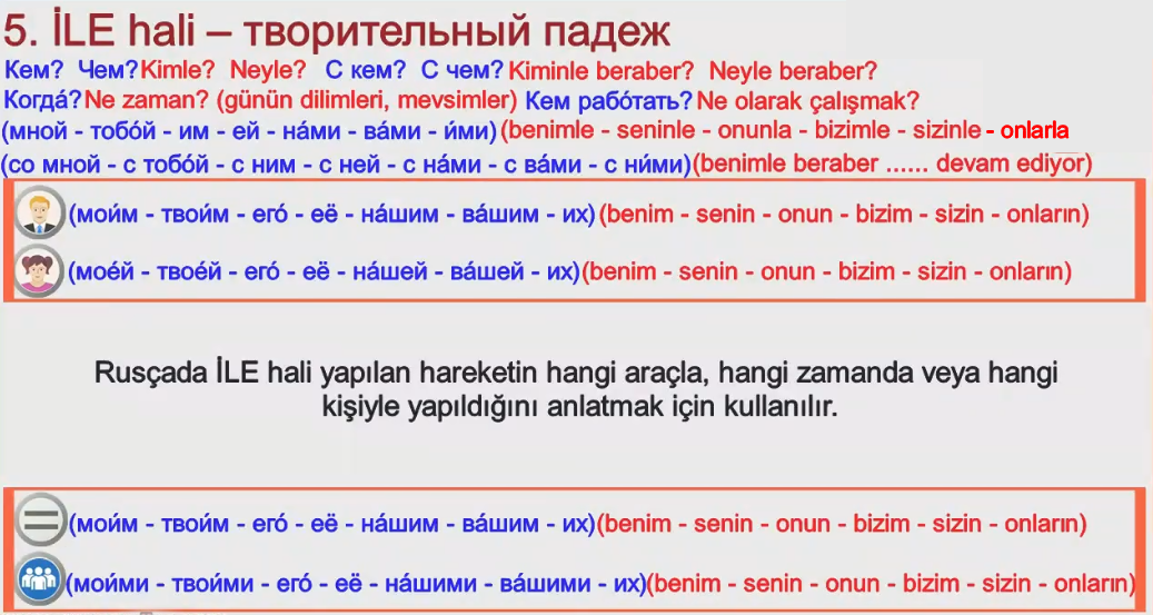 Rusça İsmin İLE Hali 1