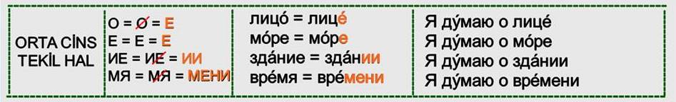 Rusça İsmin DE Hali 4