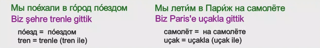 Rusça İsmin İLE Hali 10