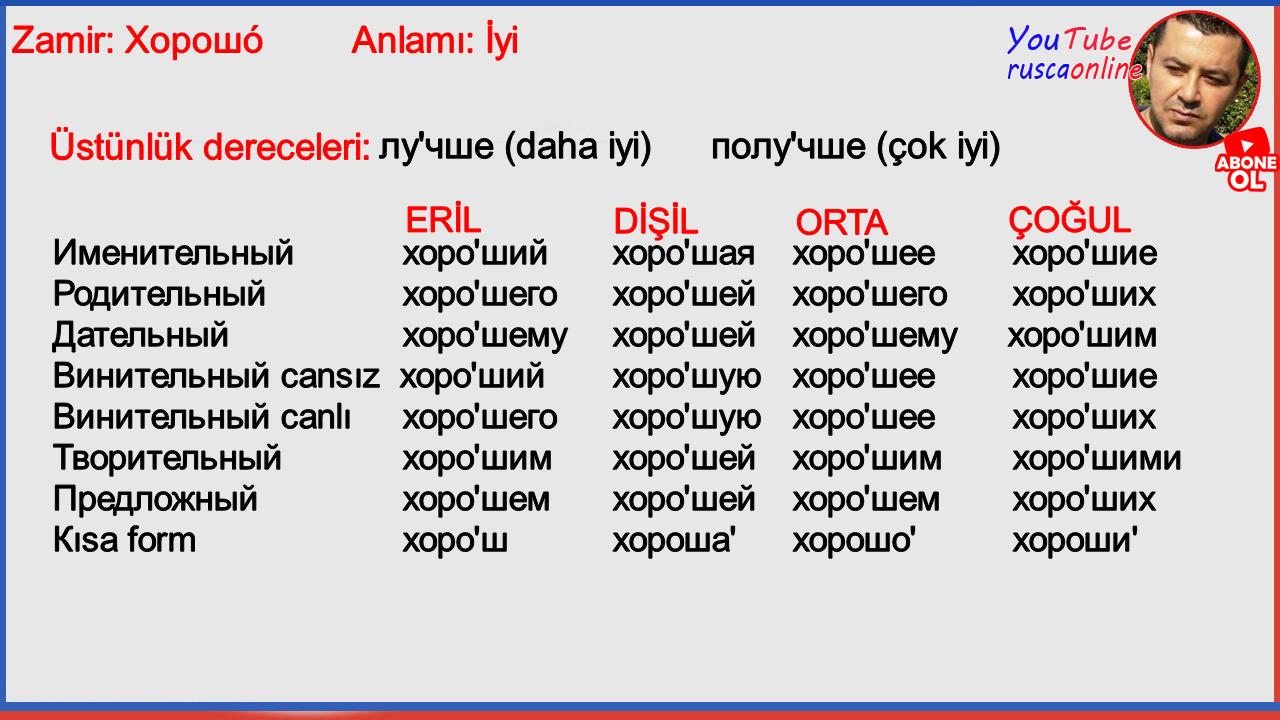 Rusça Türkçe Zamir Çevirisi